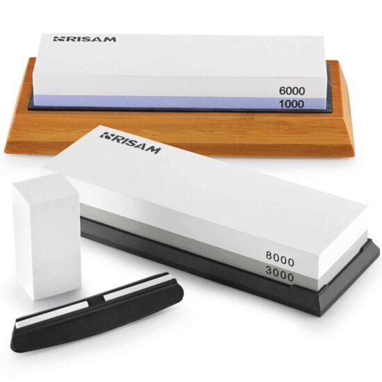 RISAM Fenőkő készlet | HOME LUX | #1000/6000 + #3000/8000 | 2 db kombinált fenőkő + Bambusz állvány + Élszögtartó + Tisztítókő